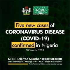 Breaking: Five New Cases of COVID-19 Infection Announced in Nigeria