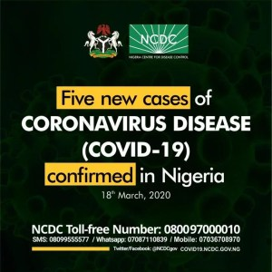 Five New Case of Coronavirus in Nigeria