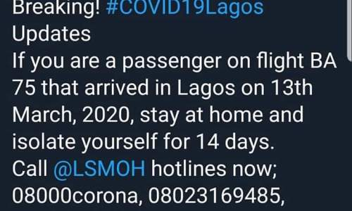 Coronavirus: Isolate Yourself for 14 Days if You Boarded This Flight - Prof. Akin Abayomi