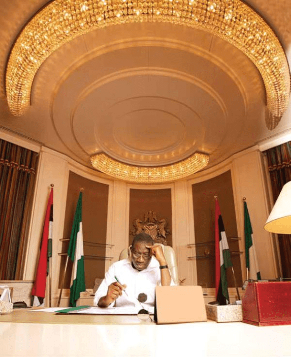 Former President Jonathan in the Presidential Office.