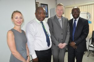 L-R: IATA Account Specialist, Christine Charlie, Ag. NAMA MD, Engr. Emma Anasi, Director, Enhancement & Fin. Services, IATA, Manfred Blondeel and IATA Area Manager (South West Africa), Sampson Fatokun during a visit of IATA team to NAMA headquarters in Lagos recently