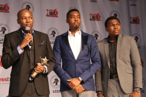 L- R Dana Air's Accountable Manager, Mr Obi Mbanuzuo, Mr Collins Ginika, Cabin Services and Mr. Kingsley Ezenwa, Communications Manager, while receiving Dana Air's award for Service Excellence in Aviation, at the LCCI's Commerce and Industry Awards recently
