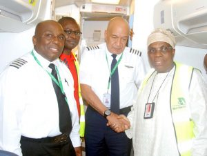Pix from left Capt Niyi Ogunnowo; Alhaji Na'Allah Ishaq, Executive Director, Business Development; Capt William Inyang and Alhaji Muneer Bankole, MD/CEO all of Med-View Airline on arrival of an additional Boeing 737-500 aircraft to the fleet of Med-View Airline at Murtala Muhammed Airport 2, Ikeja, Lagos over the weekend. Photo Lamidi Bamidele