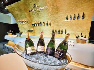 Customers looking to unwind before their flight can look forward to the Moët & Chandon champagne lounge created exclusively for Emirates.