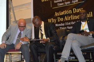 L-R: Rizman Kadiri,  MD, Skyway Aviation Handling Company Limited (SAHCOL), Mr Chris Aligbe, CEO Belujane Konzult, Richard Kyereh, Dr. Head of Commercial, Africa World Airlines(AWA)