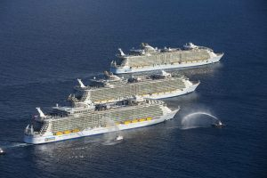3 Sisters meeting at sea - Harmony of the Seas, Allure of the Seas and Oasis of the Seas offshore Port Everglades, FL Royal Caribbean International
