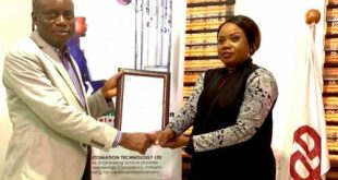 L-R: Emmanuel Okon, managing director/CEO of EATECH and Ugochi Alisi, general manager of the company with the certificte of accreditation for ISO/IEC 17025 received from the Nigerian National Accreditation Service in Lagos recently.