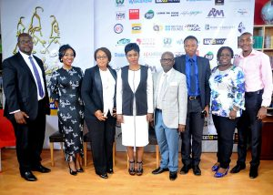 Bolanle Austen-Peters, Director of Wakaa the Musical flanked by Partners and sponsors of Wakaa The Musical goes to London, at the Press conference.jpg