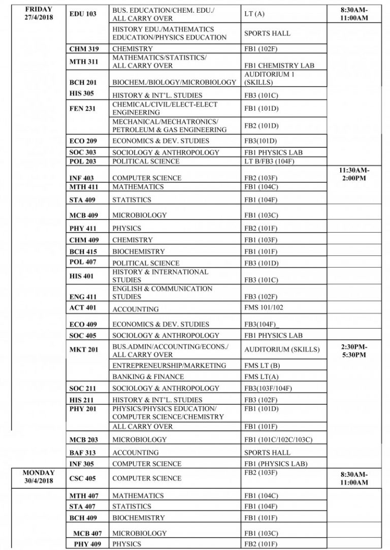 FUOTUOKE exam schedule for 2017/2018 first semester