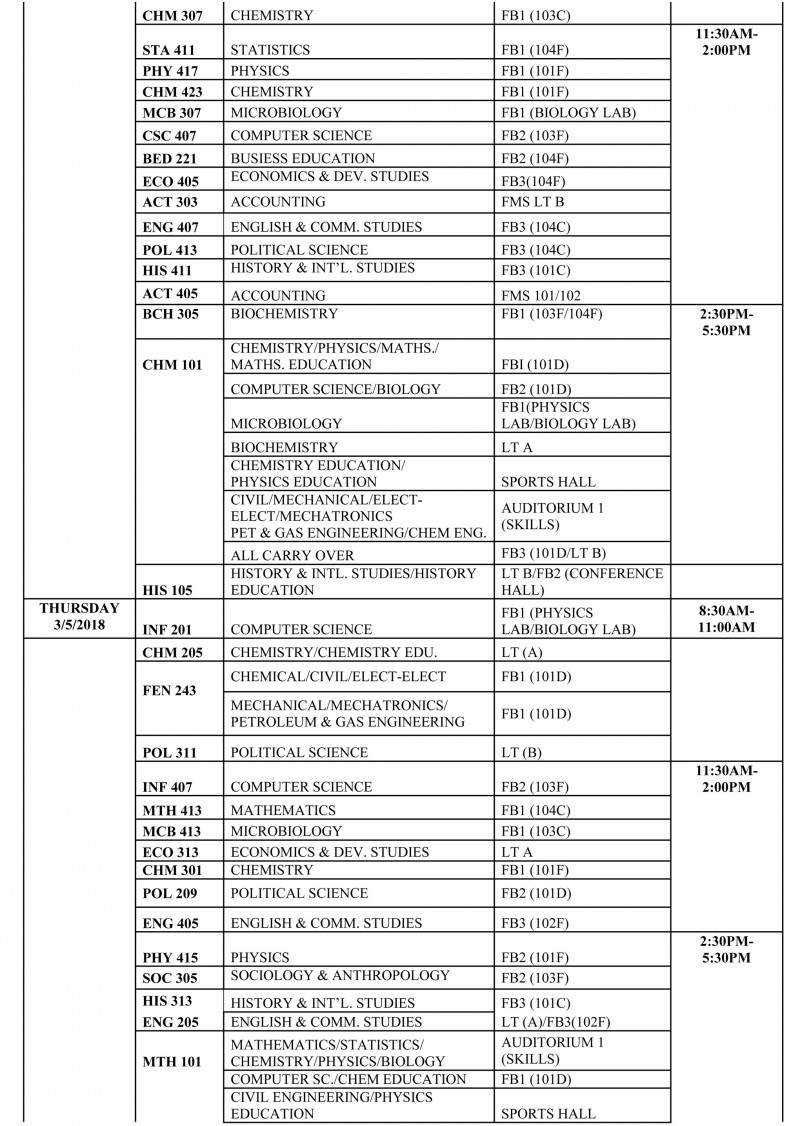 FUOTUOKE Exam Timetable for 2nd Semester, 2017/2018 Session