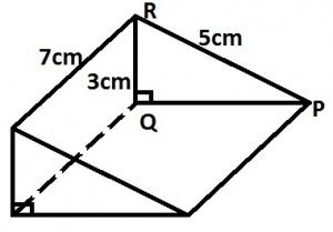The diagram shows a triangular prism of length 7cm. The