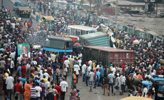 A multiple accident scene on Ketu-Ikorodu road