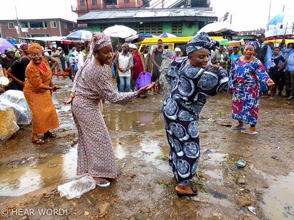 Taiwo Ajayi-Lycett and Ireti Doyle thrilling the crowd at Mushin Market