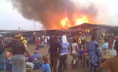 fire engulfs 35 shops in Ibadan