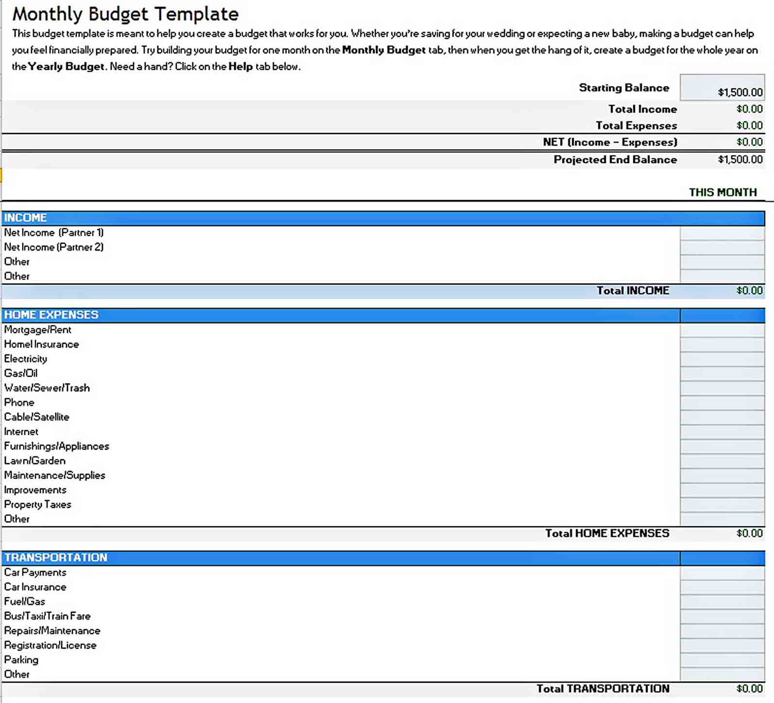 Excel Business Budget Template