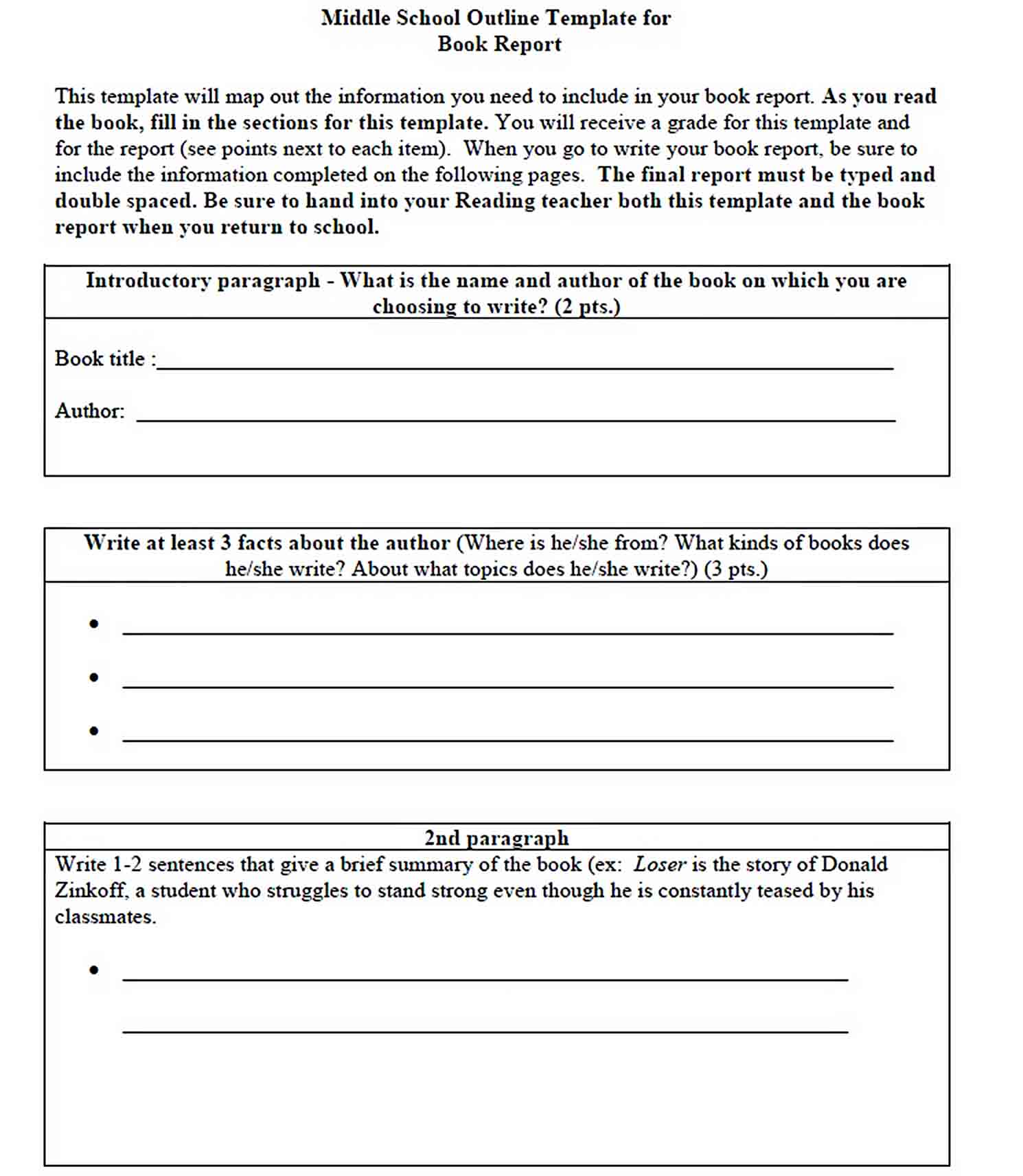 Middle School Book Report Template