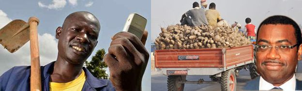 A Nigerian Local Farmer with the Cell Phone to Boost his agricultural products, courtesy of the Federal Republic of Nigeria Akinwumi-Adesina