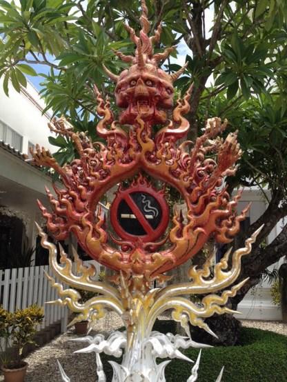 No smoking sign at Wat Rong Khun