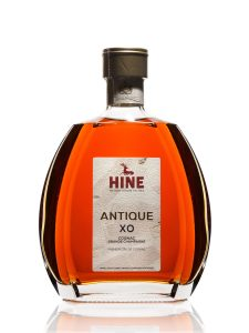 Moscow, Russia, December 23, 2019, bottle of cognac Hine Antique XO isolated on white