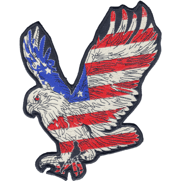 Striking Eagle reflective embroidered patch. Nightfire Patches®
