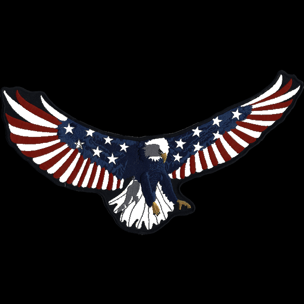 """American Eagle Back Patch 14"""" x 7.25"""" inches reflective embroidered patch. Nightfire Patches®"""