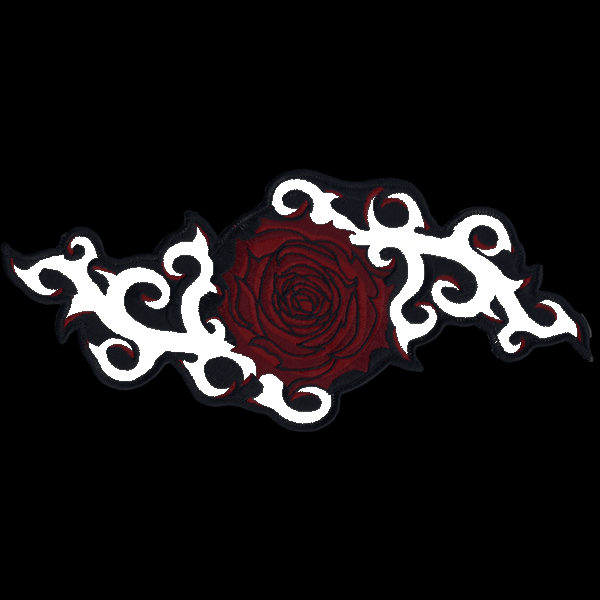 "Pink Rose and Thorns 10"" x 4"" reflective embroidered patch. Nightfire Patches®"