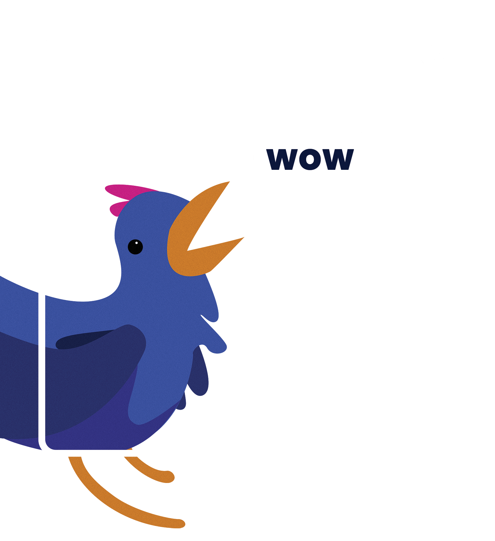 Bird in a Website Frame Saying WOW