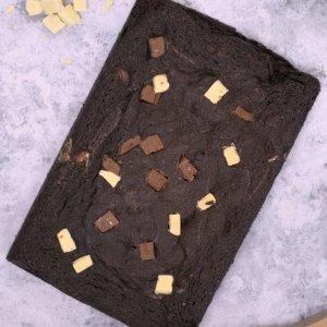 Triple chocolate brownie slab