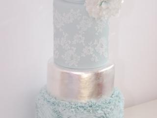 pale blue silver wedding cake