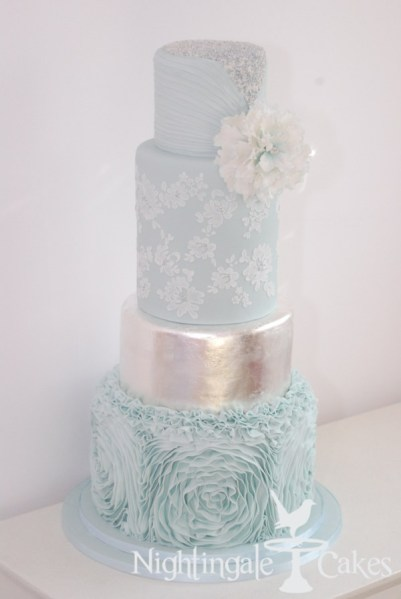 pale blue silver wedding cake