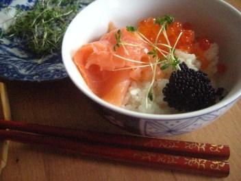 Smoked salmon and ikura domburi -- my favourite for New Year