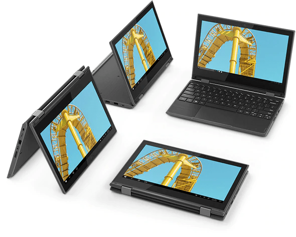 360-degree hinges enable the Lenovo 300e 2-in-1 to accommodate 4 different modes: tent, stand, laptop, and tablet.