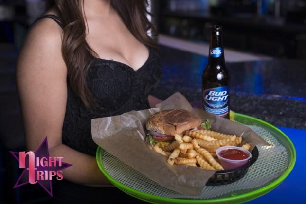 Night Trips Hamburger and Bud Light