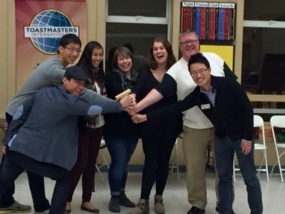 Night Vision Toastmasters Executive Team, January - June 2016. From left to right: Kevin, Steve, Melissa, Crissy, Odette, Terry, and Jason. Missing from image: Scott.