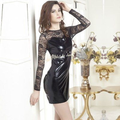 Leather Mini Dress With Lace