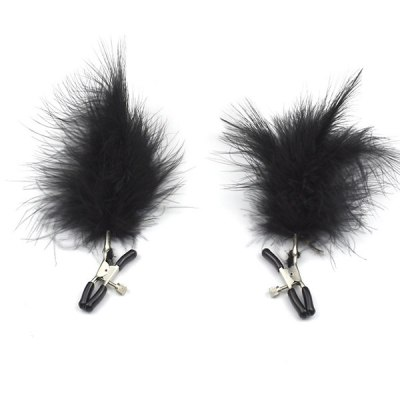 Black Feather Nipple Clips