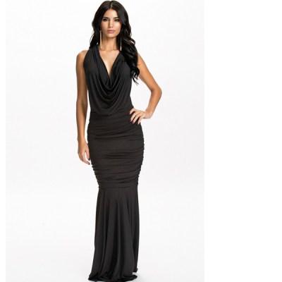 Black Halter Backless Draped Evening Dress