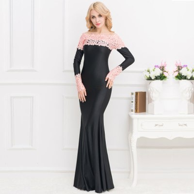 Boat Neck Pink Lace Evening Gown