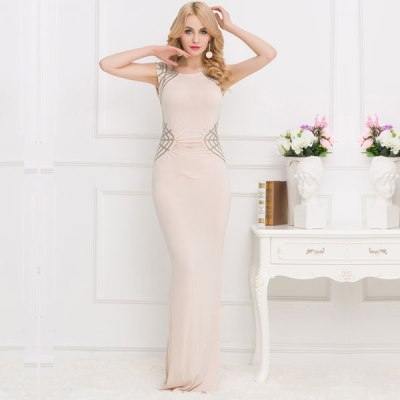 Cream Coloured Shimmering Sequins Pleated Maxi Dress