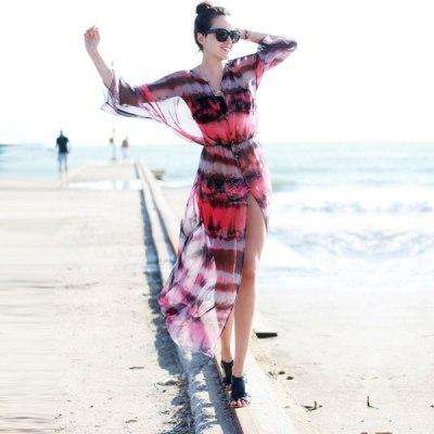 Slit Front Open Tie Dye Print Chiffon Fashion Beach Dress