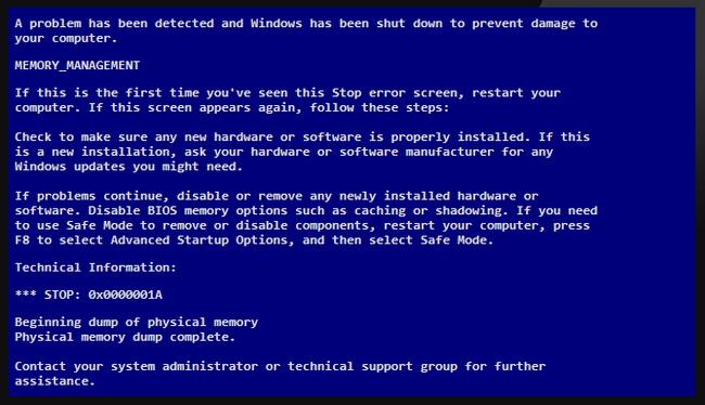 Синий экран со строчками Beginning dump of physical memory Physical memory dump complete. Что делать?