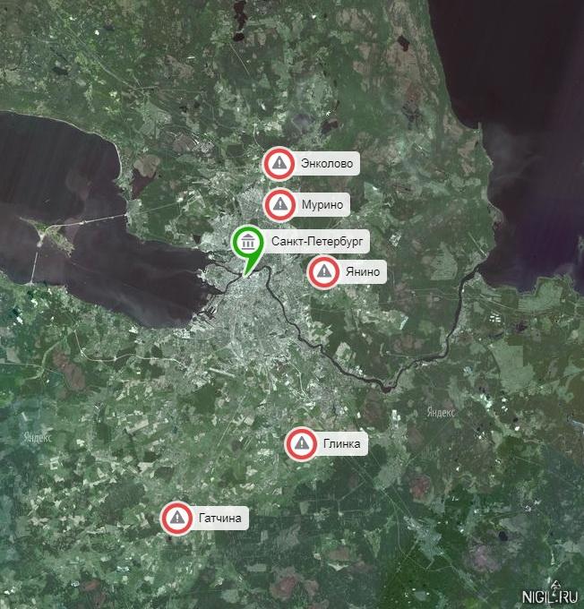 Интерактивная карта закрытых на карантин из-за коронавируса городов Лен.Области. Петербург постепенно окружают