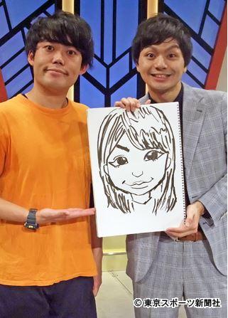 プリマ旦那の河野良祐さん(29) 新妻の似顔絵を持って、結婚発表。 典拠:東京スポーツ新聞社