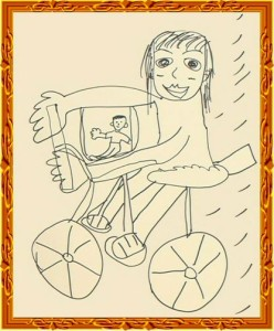 『子どもを自転車に乗せて買い物する奥さん』 by マエケン
