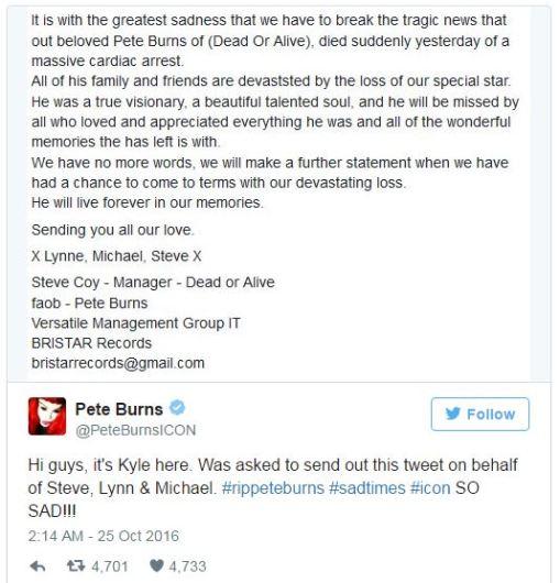 ピート・バーンズ死亡を伝える、ツイッター