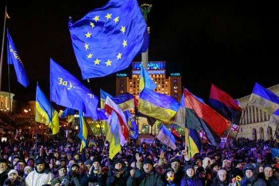 EU, UPA , Svoboda and Ukraine's national flags displayed at Euromaidan.