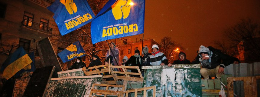 Fascist Svoboda flags in full display at the barricades of Euromaidan, December 2013.