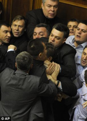 Fight in the Parliament of Ukraine, Svoboda leader was involved.