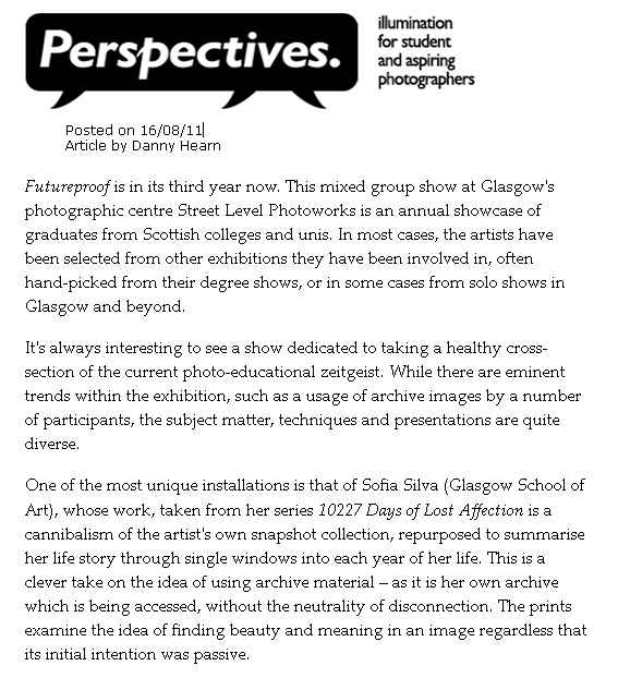 'Futureproof 2011', Street Level Photoworks, Glasgow.