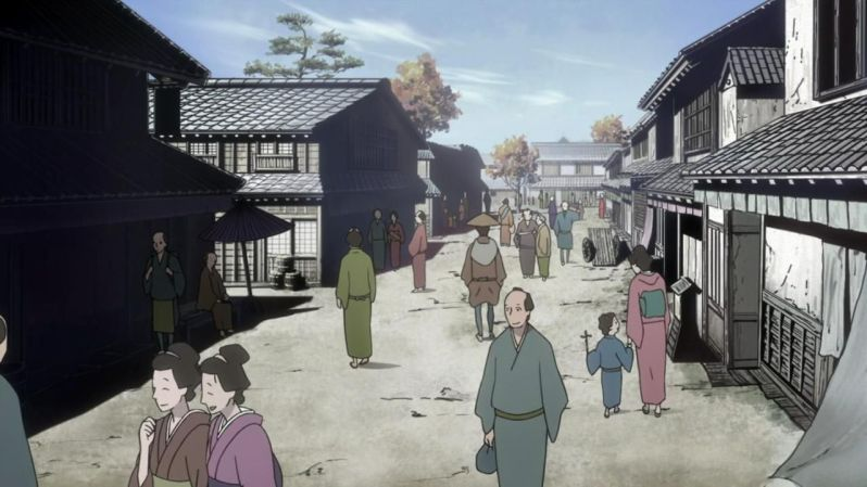 The streets of Edo come alive with its everyday activities.